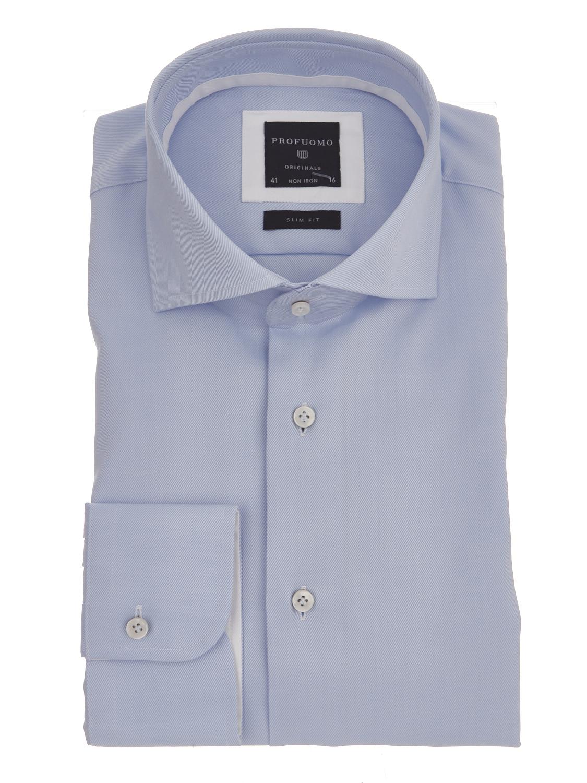 Profuomo overhemd cutaway slim fit blue 38